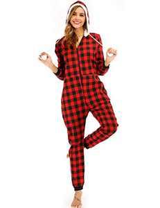 Enipate Women's Christmas Plaid Zipper Onesie Pajama One-Piece Jumpsuit Adult Hooded Union Suit Jogger Loungewear Sleepwear Hoodie Red M