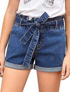 LookbookStore Girls High Waisted Removable Belt Sewn Cuffed Wide Leg Denim Jean Shorts Dark Denim Size XXL