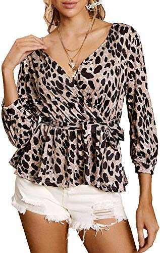 Sofia's Choice Women's Wrap V Neck 3/4 Sleeve Leopard Print Belted Waist Blouse Tops Brown XL