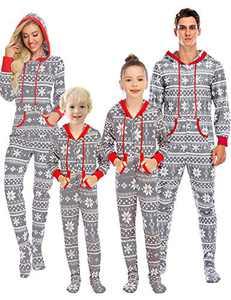 Enipate Women's Christmas Family Matching Footed Onesie Pajama Zipper One-Piece Jumpsuit Hooded Union Suit Sleepwear Bodysuit Loungewear Hoodie Adult Gray 2XL …