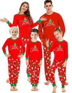 Enipate Kid's Christmas Tree Family Matching Pajama Set Sleepwear Loungewear T-Shirt Jogger Nightwear Children 140