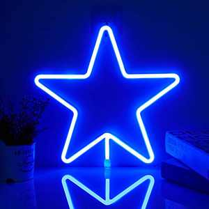 Star Neon Light Sign - Blue LED Neon Sign Wall Decor Lamp Powered by 3 AA Battery/USB Charging, Star Neon Night Light Sign for Bedroom, Kids Room, Christmas, Wedding, Birthday Party Decor
