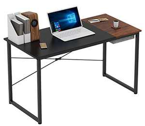 COTUBLR 55 Inch Computer Desk with Storage Box Home Office Writing Study Laptop Table, Modern Simple Style Desk with Drawer, Black Espresso