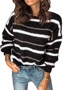 Margrine Women's Cute Colorful Striped Sweater Long Sleeve Short Tops Black 2MA95-heise-S
