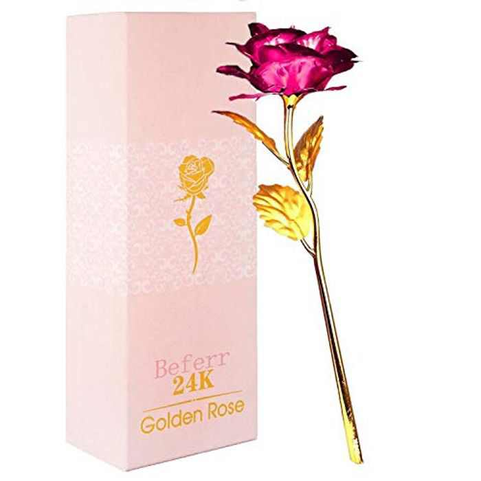 Beferr 24k Gold Plated Plastic Galaxy Rose Artificial Forever Rose Flower, Infinity Rose Gift for Her Girlfriend Wife Mum Women on Valentine's Day Mother's Day Anniversary Birthday Christmas -Rose Red