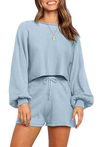 NENONA Women's 2 Piece Knit Sweater Pajamas Sets Solid Pullover Sweatsuit Crop Top Shorts Sleepwear with Pockets(Blue-L)