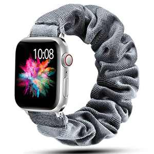 Muranne Scrunchie Watch Band Compatible with Apple Watch 38mm 40mm Cute Pattern Soft Cloth Replacement Elastic Wristband for iWatch SE & Series 6 5 4 3 2 1 Smoky Gray 38mm/40mm Small