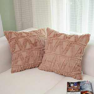 """NordECO HOME Luxury Soft Velvet Decorative Throw Pillow Covers, No Pillow Insert, 18"""" x 18"""" Inch, Light Brown, 2 Pack,"""