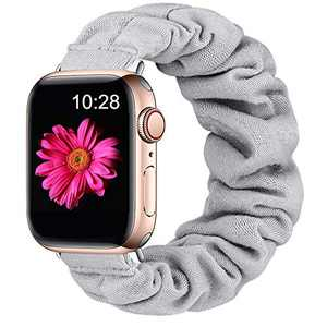 Easuny Scrunchie Band Compatible with Apple Watch SE Series 6 44mm Women - Soft Cloth Scrunchy Elastic Bracelet Wristband Strap Replacement for iWatch 42mm for Girls Series 3 2 1,Gray Small