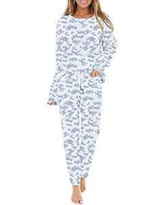Corfrute Womens Pajama Sets Long Sleeve Tops and Pants Trousers Tie Dye Printed Sleepwear Nightwear(Camouflage ,L)