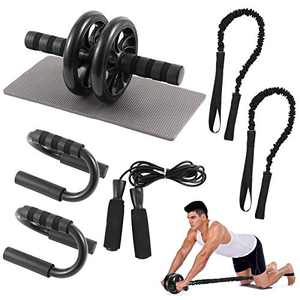 LINGSFIRE AB Roller Wheel Kit, 6-in-1 Workout Gear with Resistance Band, Jump Rope, Push-up Bar and Knee Pad - Perfect Home Gym Equipment for Women Men - AB Wheel Roller for Core Workout Gym Equipment