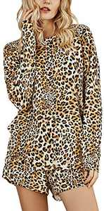 Womens Leopard Printed Loungewear Sets Long Sleeve Tops & Lounge Shorts Pajamas Sets Sleepwear Night Shirt S