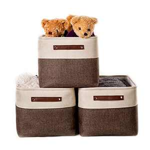 VK Living Large Foldable Storage Bin Collapsible Fabric Storage Basket Cube PU Handles for Organizing Toys Clothes Kids Room Nursery Home Closet Office Coffee Beige 15 x 11 x 9.5, 3 Pack