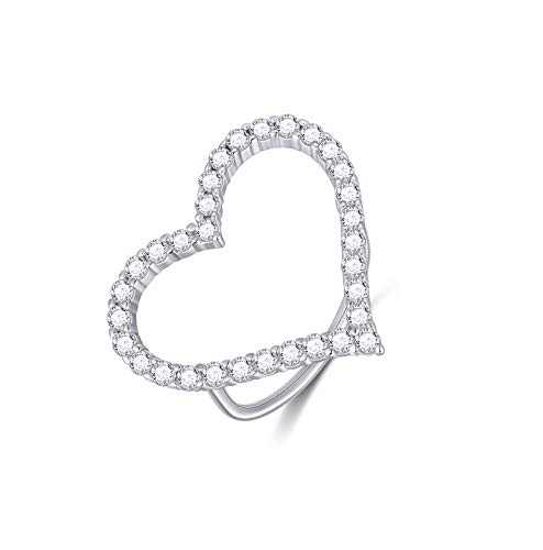 Heart Ring Sterling Silver Open Heart Band Ring for Women, Ring Size: 5-9