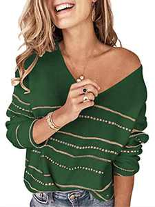 Margrine Women's Sweaters Casual Long Sleeve V-Neck Color Block Patchwork Pullover Knit Sweater Tops Dark Green 2MA61-molv-L