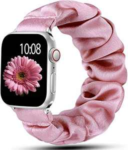 Muranne Scrunchie Band Compatible with Apple Watch 38mm 40mm for Women Girls Fancy Elastic Scrunchy Replacement Wristbands Stretchy Bands for iWatch SE & Series 6 5 4 3 2 1 Rose Pink 38mm/40mm Small