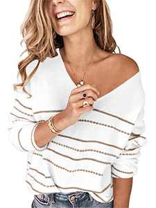 Margrine Womens Long Sleeve Color Block Off Shoulder V Neck Cozy Winter Knit Sweater Pullover Tops White 2MA61-baise-S