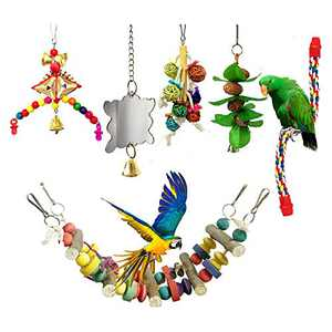 Viowey 6pcs Bird Swing Toys, Parrot Chewing Toys, Hanging Perches with Bells Toys for Parrots, Parakeet, Conure, Cockatiel, Mynah, Love Birds, Finches