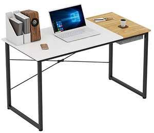 COTUBLR 55 Inch Computer Desk with Storage Box Home Office Writing Study Laptop Table, Modern Simple Style Desk with Drawer, White Espresso