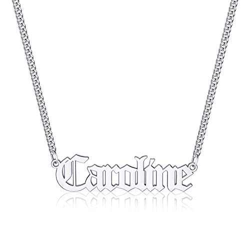 Caroline Name Necklace Personalized, Stainless Steel Old English Custom Name Necklace Nameplate Necklace Personalized Name Necklace Jewelry Gifts for Women Men Gothic Font Style Caroline necklace