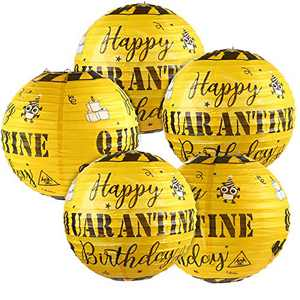 5 Pieces Quarantine Birthday Decoration Happy Quarantine Birthday Hanging Paper Lanterns Social Distancing Party Birthday Lockdown Party Quarantine Sign Decorations for Indoor Outdoor Supplies