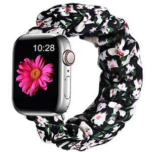 Easuny Scrunchie Band Compatible for Apple Watch SE Series 6 44mm Women - Soft Cloth Scrunchy Elastic Bracelet Wristband Strap Replacement for iWatch 42mm for Girls Series 3 2 1,Black/White Flower L