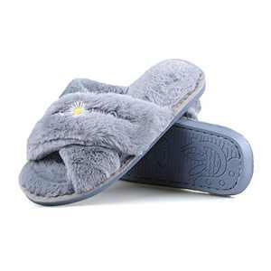 Hanhanmatou Women's Cross Band Soft Plush Fleece House Indoor or Outdoor Slippers (Grey,6)