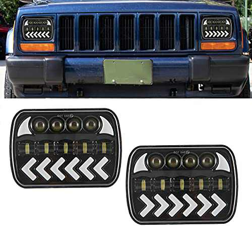 """GSRECY 5x7"""" 7x6"""" Inch Dynamic LED Headlight,DRL Turn Light Hi/Lo Sealed Beam, Compatible with H6014 / H6052 / H6054 Bulb Headlamps Jeep Cherokee Wrangler XJ YJ Sedans Express Savana(Pack of 2)"""