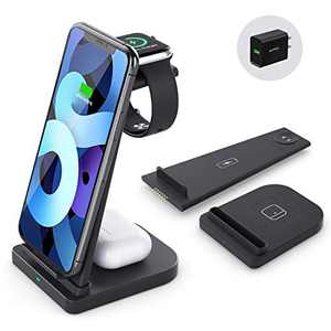 Wireless Charging Station-3 in 1 Qi-Certified Fast Charging Stand Compatible Apple Watch Series 6/5/4/3/2 Airpods Pro iPhone 12/12pro/11/11pro/X/XS/XR/XS Max/8/8 Plus/with(QC 3.0Adapter)(Black)