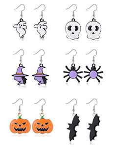 Sllaiss 6 Pairs Halloween Dangle Earrings Set for Women Men Stainless Steel Witch Hat Ghost Skeleton Earrings Spider Pumpkin Bat Earrings Halloween Theme Jewelry Gift (Black)