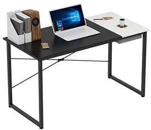 COTUBLR 55 Inch Computer Desk with Storage Box Home Office Writing Study Laptop Table, Modern Simple Style Desk with Drawer, Black White