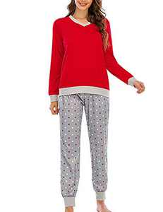 Enipate Women V-Neck Long Sleeve Polka Dot Jogger Two Piece Pajama Sleepwear Set Loungewear Nightwear Red 2XL