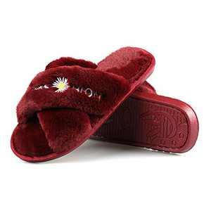 Hanhanmatou Women's Cross Band Soft Plush Fleece House Indoor or Outdoor Slippers (red,6)
