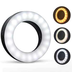Venupple Selfie Ring Light, Clip On Ring Light with 40 LEDs Rechargeable 3 Light Mode Adjustable Brightness and Color Selfie Light for Phone Laptop, Computer, Photography, Video and Makes up