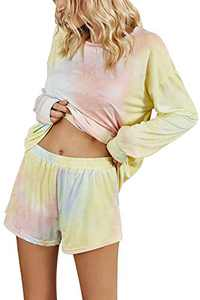 AKEWEI Womens Cute Long Sleeve Tie Dye Print O Neck Pajamas Set Pjs Sets Loungewear Sleepwear Shorts Sets Blue&Pink&Yellow L