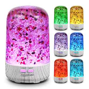 Diffusers for Essential Oils Natural Crystal Stone - Small Essential Oil Diffuser, Ultrasonic Cool Mist Aroma Diffuser,Color Change Oil Diffuser Humidifiers, Waterless Auto-Off & Whisper-Quiet