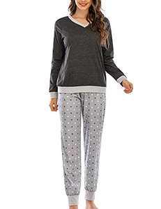Enipate Women V-Neck Long Sleeve Polka Dot Jogger Two Piece Pajama Sleepwear Set Loungewear Nightwear Gray M