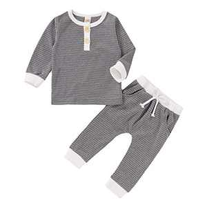 Newborn Baby Boys Girls Outfit Sweatshirt T-Shirt Tops+Striped Pants Infant 2Pcs Clothes Set (Grey, 3-6 Months)