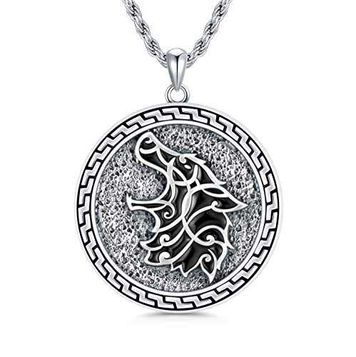 """PDTJMTG Wolf Necklace Sterling Silver Viking Jewelry, 20""""+2"""""""