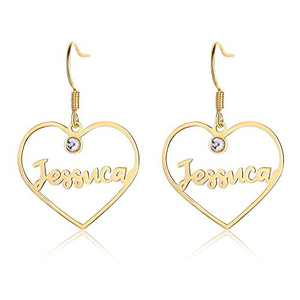Custom Earings Personalized Name Earings, Name Hoop Earring Dangle Customize Earring with Name Fashion Jewelry Gift for Women Girls (heart)