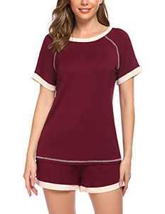 Ekouaer Womens Pajama Shorts Set Soft Pjs Scoop Neck Sleepwear Wine Red M