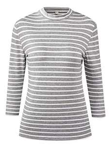 LilyCoco Women's 3/4 Sleeve Mock Neck Turtleneck Striped T-Shirt Slim Fit Tee Shirt Tops (Large, Gray Stripe)