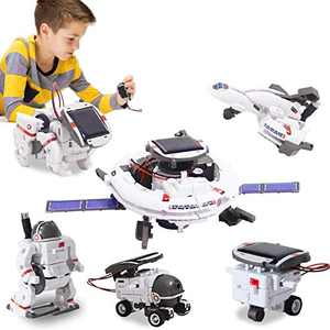 BOZTX 6 In 1 Solar Robot Kit STEM Toy Educational Science Kits Space Fleet Building Kits for Kids Science Building Toys Robot Gifts For 8 9 10-12 Year Old Boys Girls Kids-Powered By The Sun Or Battery