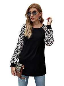Romwe Women's Long Sleeve Round Neck Leopard Colorblock Causal Cotton Pullover Blouse Black Small
