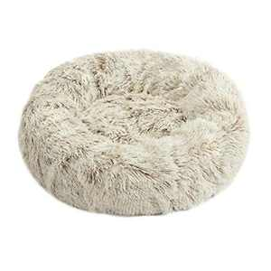Lacher Donut Pet Bed Round Cushion Marshmellow Faux Fur Cuddler, Calming Fluffy Comfy Bed for Dog and Cat (20 in, White Brown)