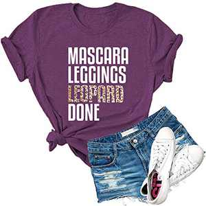 Dauocie Womens Mascara Leggings Leopard Done Letter Print Short Sleeve T Shirt Funny Casual Soft Graphic Tees Tops Purple