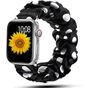 Muranne Scrunchie Band Compatible with Apple Watch 42mm 44mm for Women Girls Fancy Elastic Scrunchy Replacement Wristbands Stretchy Bands for iWatch SE & Series 6 5 4 3 2 1 Dot 42mm/44mm Small
