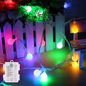 amadecohome Mini Globe String Lights Battery Operated, 8 Modes 50 LED Waterproof Fairy Lights for Bedroom Tapestry Indoor and Outdoor Christmas Tree Party Decoration (Multicolor-50LED)