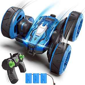 4DRC C4RC Stunt Cars Remote Control Car Toys for Kids,Off Road Rc Car,2.4GHz 4WD Double Sided Fancy Rotating 360° Flips Vehicles,3 Batteries, Gifts for Boys Age 6 7 8 9 10 11 Boys & Girls Kids Toys