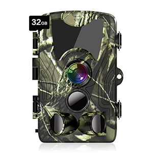 "ATOPSUN Trail Camera with 32GB Card, 20MP 1080P Game Hunting Scouting Cam with Clear 90ft No Glow Night Vision, 0.3s Trigger Time,120°Detecting Range,80FT Trigger Distance,IP66 Waterproof,2.4"" LCD"